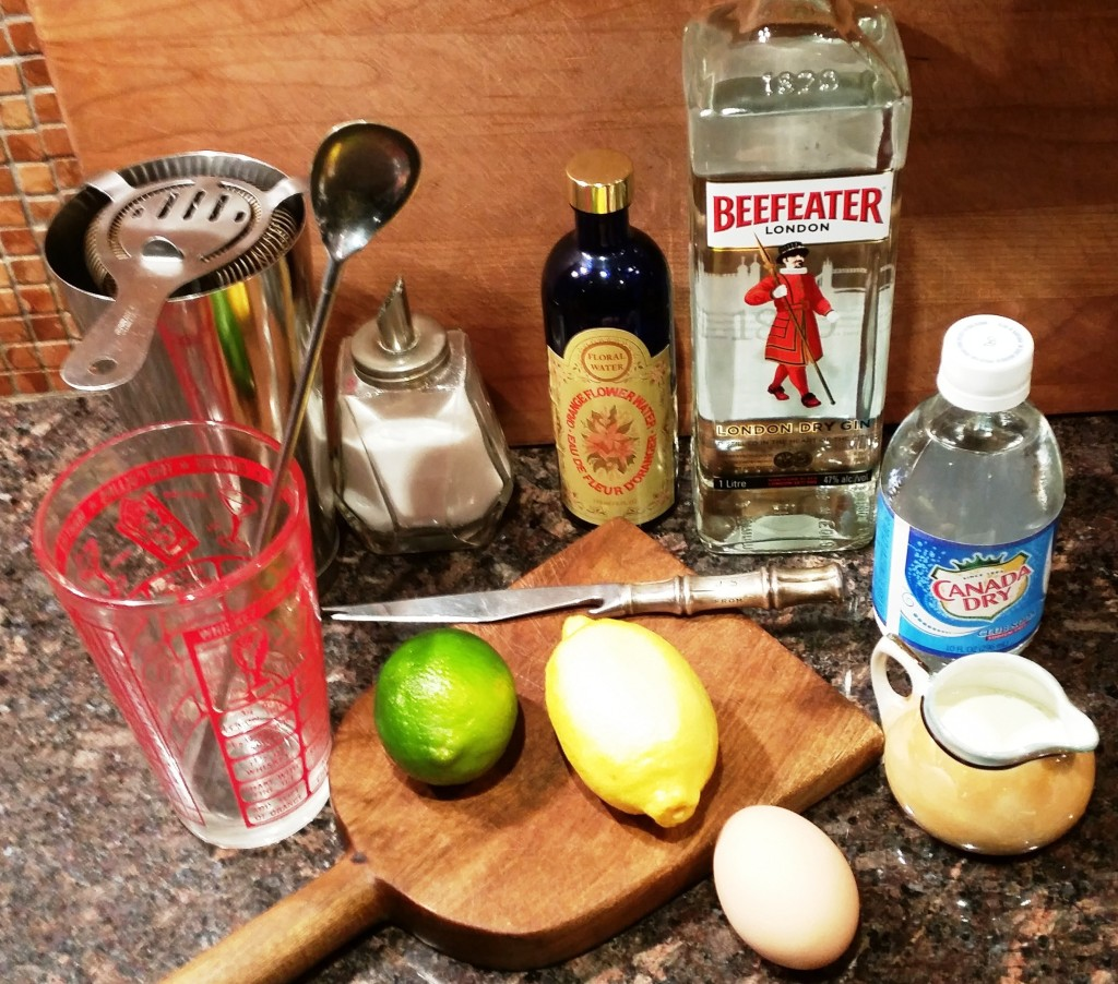 Ramos Gin Fizz ingredients and equipment
