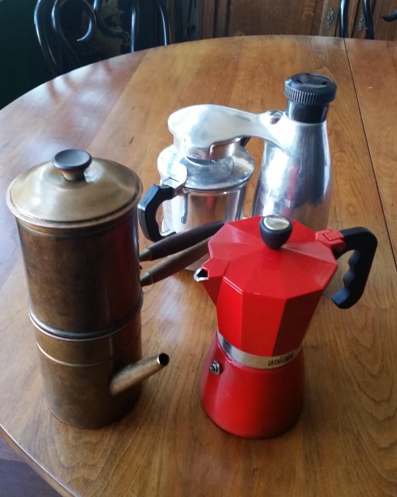 Copper machinetta, red mocha and a Vesuviana