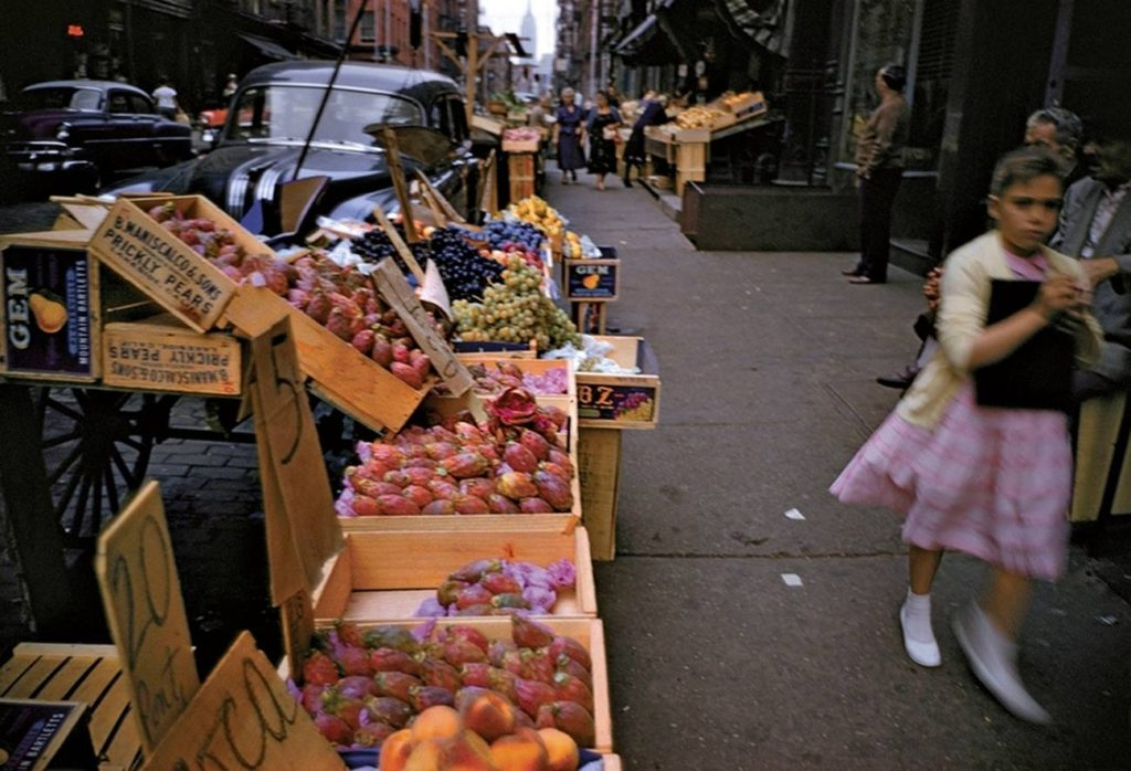 Looking north on Mott Street, 1957 Prickly Pears – 5 cents
