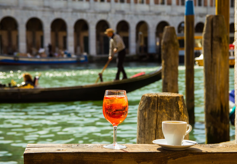 Aperol and coffee In Venice