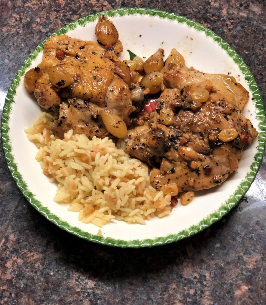 Chicken with Vinegar, Raisins, and Onions