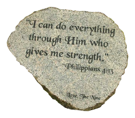 engraved rock example - Phillippians 4:13