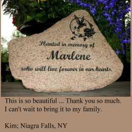 personalized garden stone testimonial - Marlene