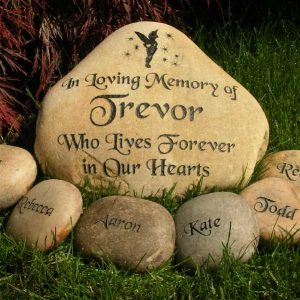 large engraved river rock memorial 1399340994