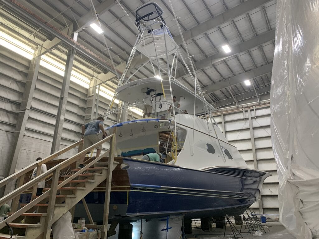 Jarrett Bay's newest boat. At the time of our tour they were hoping to have it in the water for a fishing tournament in August.