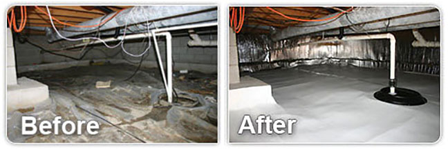 Crawlspace Encapsulation Before And After
