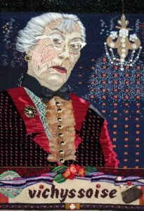 """Gert,"" 2011, 30"" x 23,"" Wool, silk, cotton and synthetic fibers on cotton warp, embellished with glass beads, buttons, vintage jewelry, millinery, coin purse, eye glasses and a spoon"