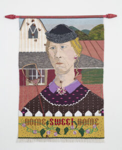 """Home Sweet Home,"" 35"" x 23"" x 2,"" wool, silk, cotton, and synthetic fiber on cotton warp, embellished with Japanese vintage bees, jewelry, crochet flowers, an old fly swatter, painted weft and woven (hat) straw"
