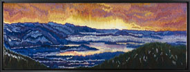 "Patti Kirch, ""Schweitzer Mountain Sunrise,"" 16.5 x 45.5 inches, 2015. Wool and cotton weft, seine twine warp."
