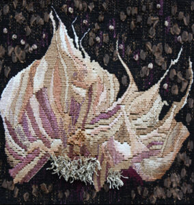 """Root Series - Garlic,"" 2012, 10"" x 10,"" Linen, silk, cotton and synthetic fibers on cotton warp, embellished with twine"