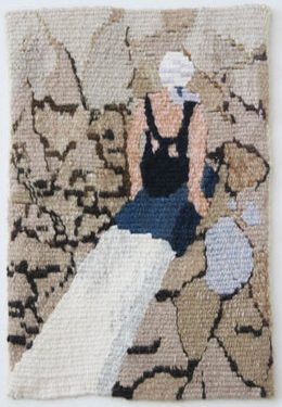 "Ama Wertz, ""Drought Glamour,"" 12 x 9 inches, 2015.Handwoven tapestry, silk and wool weft on cotton warp, canvas."