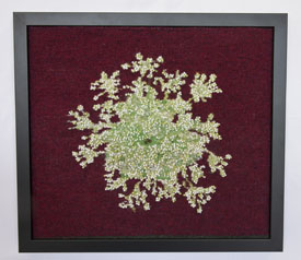 "Barbara Hitzemann, ""Queen Anne's Lace,"" 12.5 x 14 inches, 2015, Wool, rayon and beads."