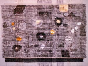 "Black Cosmos, 30"" x 40,"" 1996, mixed media collage."