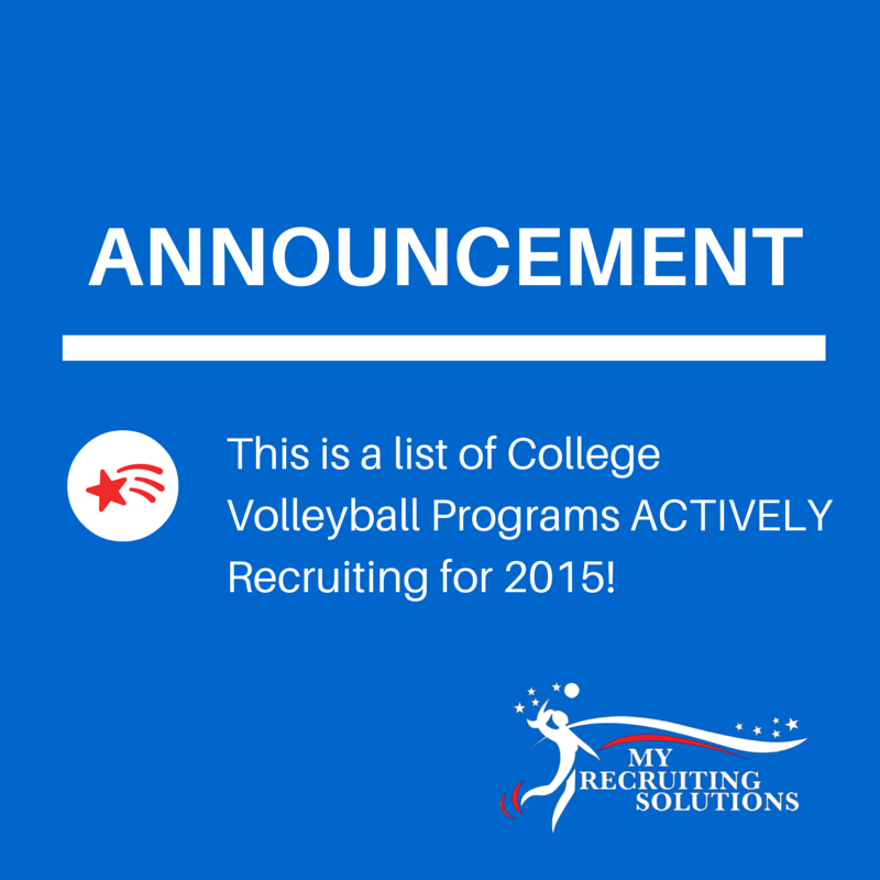 College Volleyball Recruiting Needs 2015