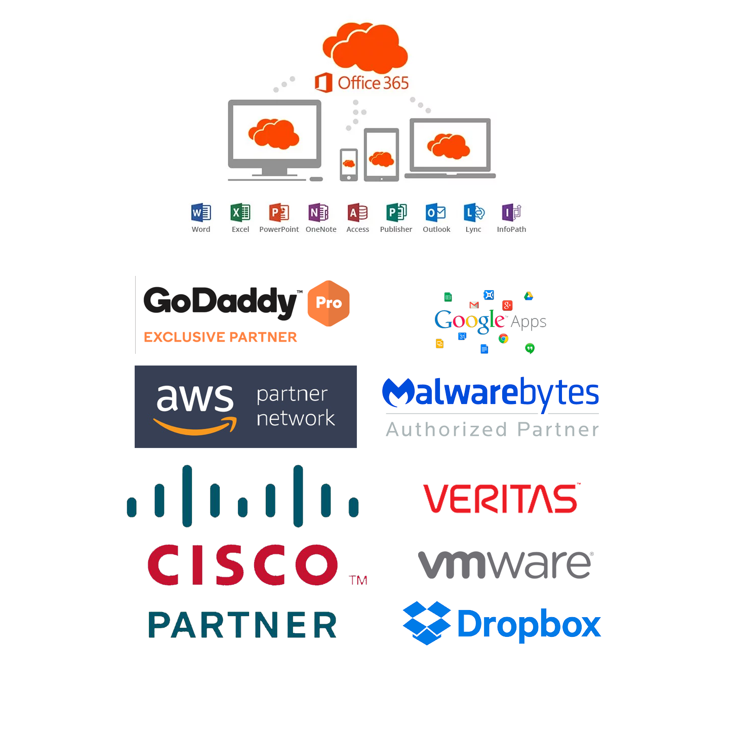 oem partner list containing partnerships with office 365 godaddy aws cisco meraki veritas malwarebytes vmware and dropbox