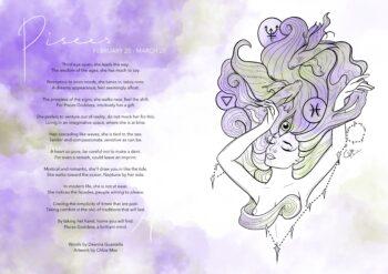 Pisces zodiac card