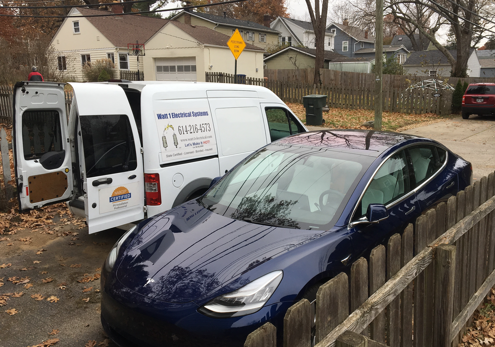 Blue Tesla Home Charger Install Columbus