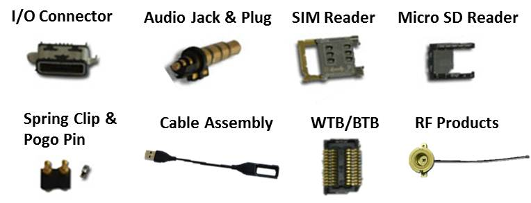 Connectors, I/O, Audio Jack & Plug, SIM Reader, Spring Clip, Pogo Pin, Cable Assembly, WTB/BTB