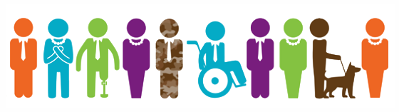 stylized cartoon image of people with disabilities