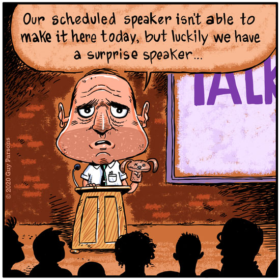 cartoon about a cancelled speaker