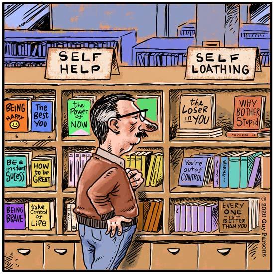 cartoon about self help books