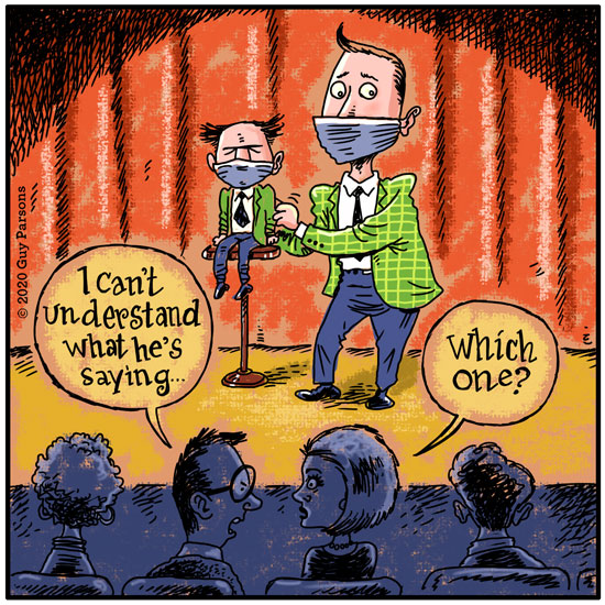 A ventriloquist wearing a mask cartoon