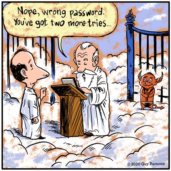 Cartoon about the pearly gates in heaven