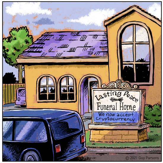 Funeral home and cryptocurrency cartoon