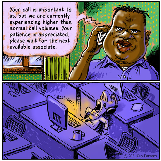 Cartoon about customer service and holding on the phone