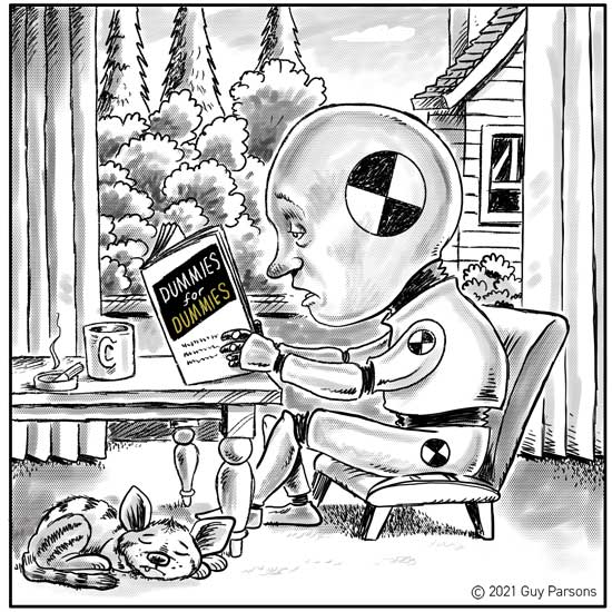 Crash test dummy cartoon