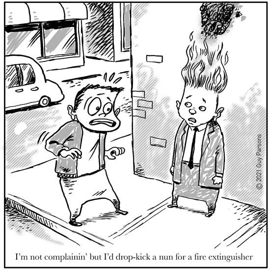 cartoon with a man's hair on fire