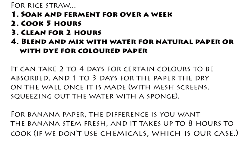 papermaking recipe