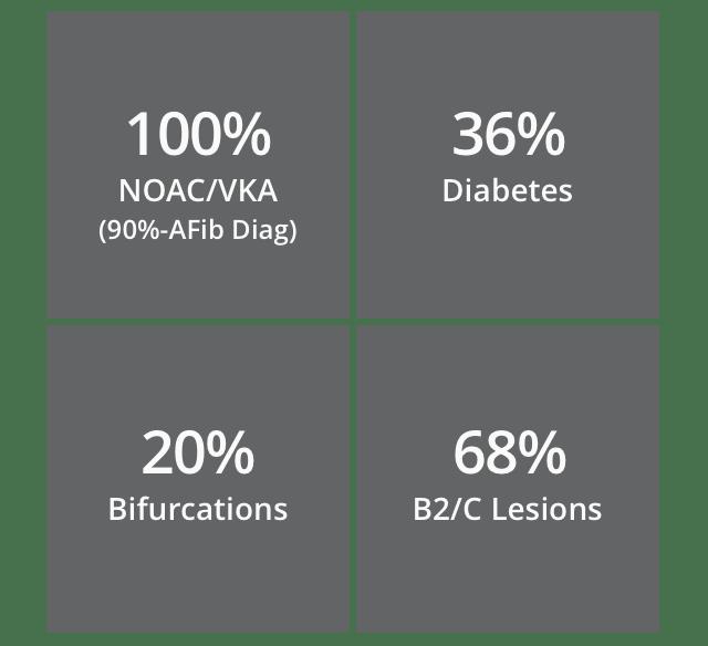 100% NOAC/VKA (90%-Afib Diag)   36% Diabetes   20% Bifurcations   68% B2/C Lesions