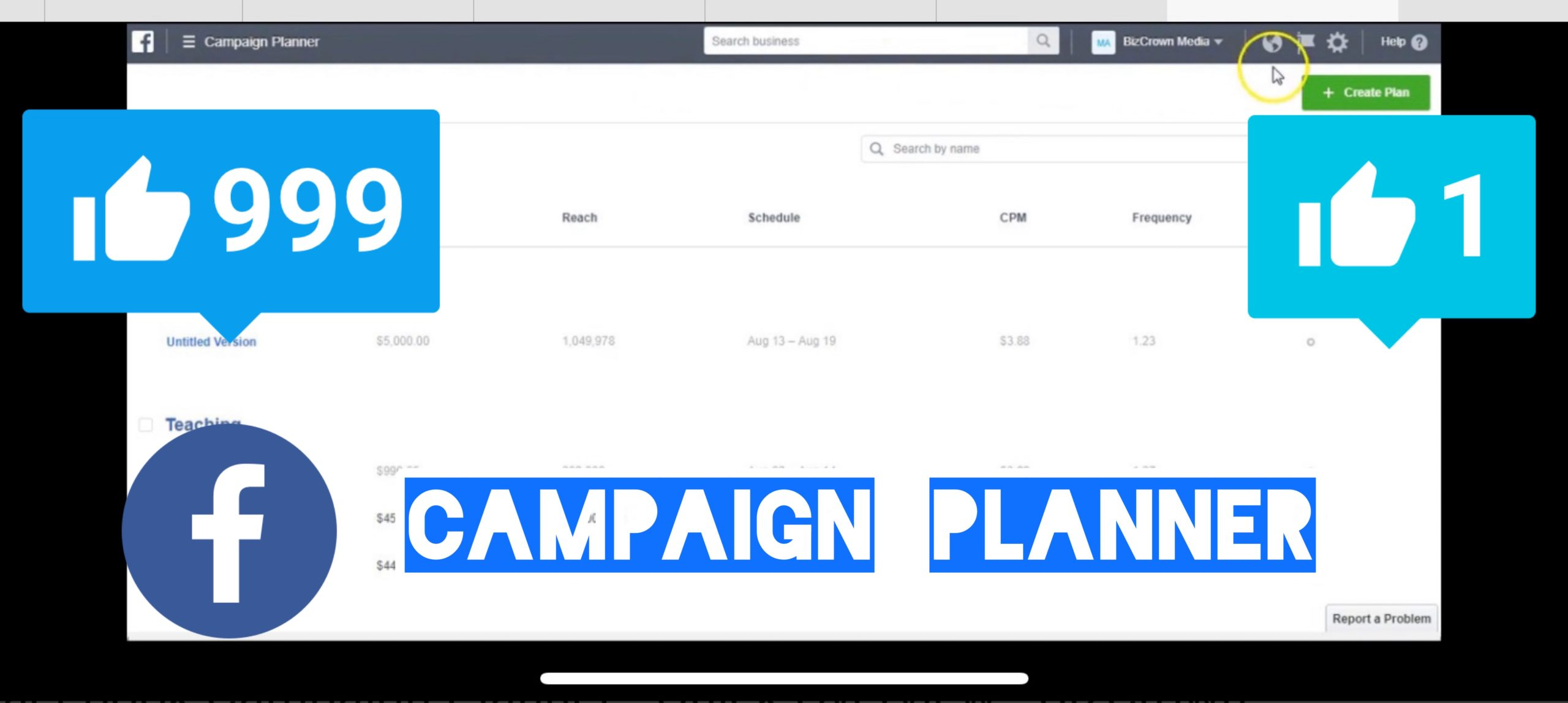 Facebook Campaign Planner Overview Bizcrown