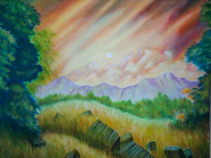 "Dawn At Orchardly - Size: 24"" x 30"""