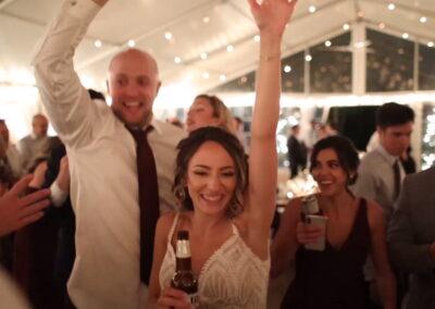 Bride and Groom Hands Up