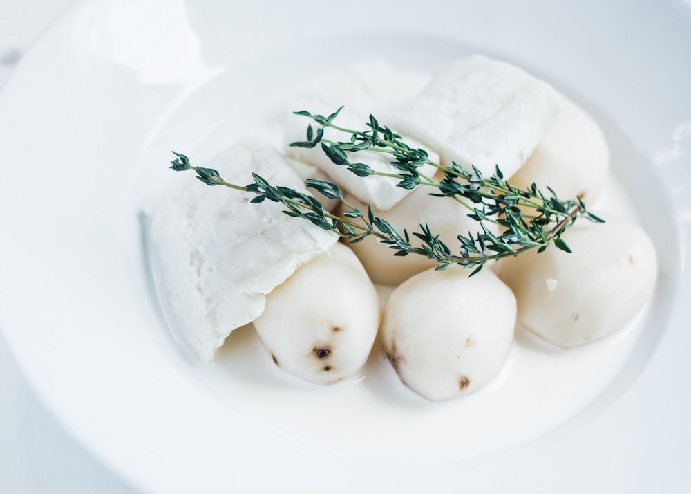 Milk Poached Cod with Potatoes
