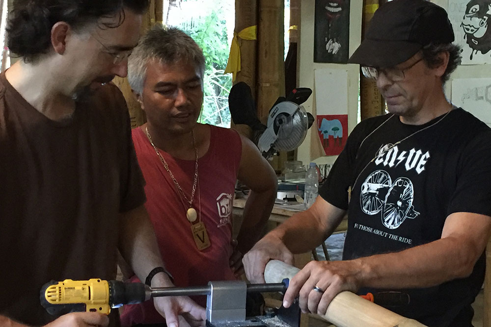 EWABI - Craig Calfee, Jason and Ketut at workshop