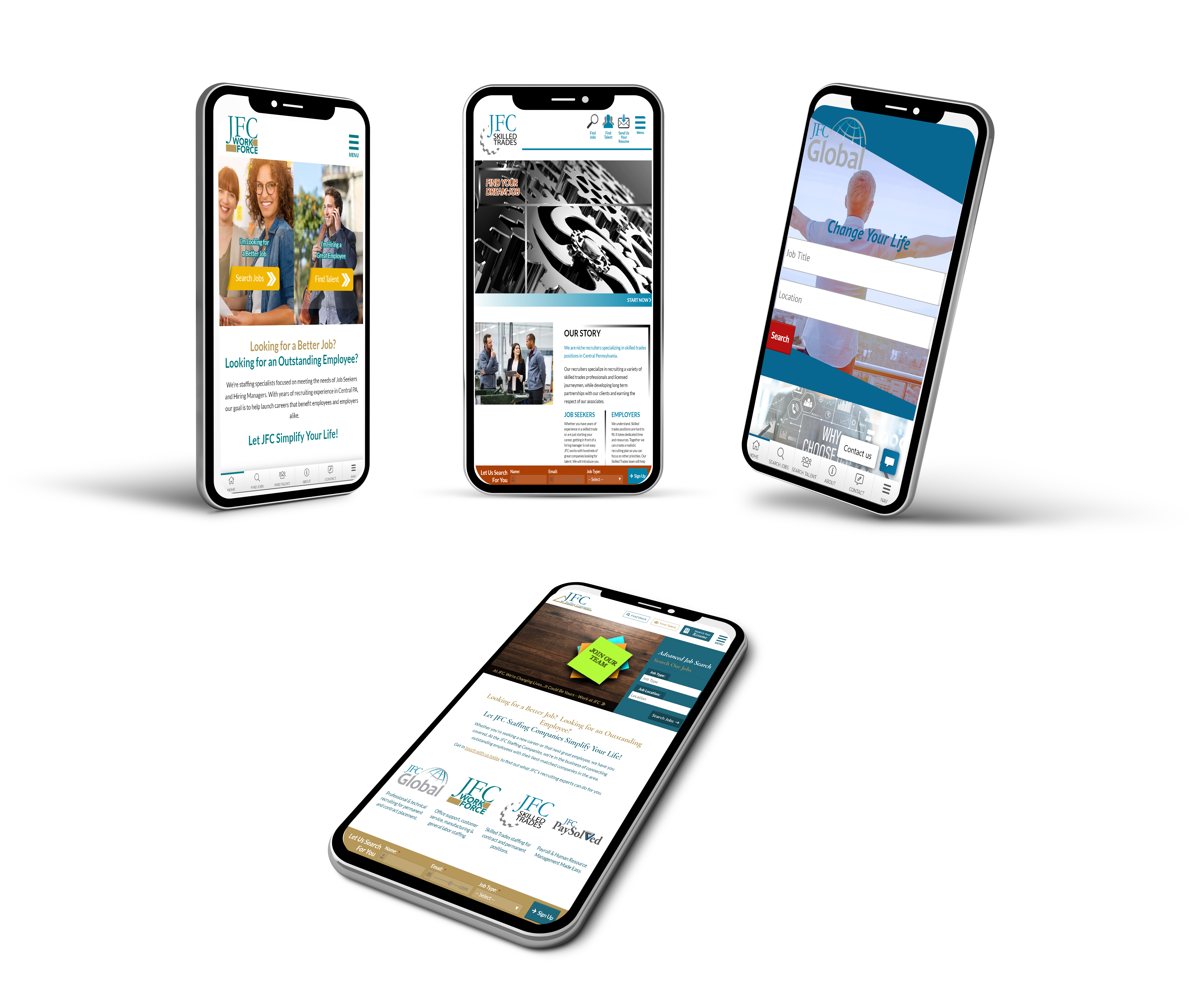 Four branded moble site designs by Valor Creative Media