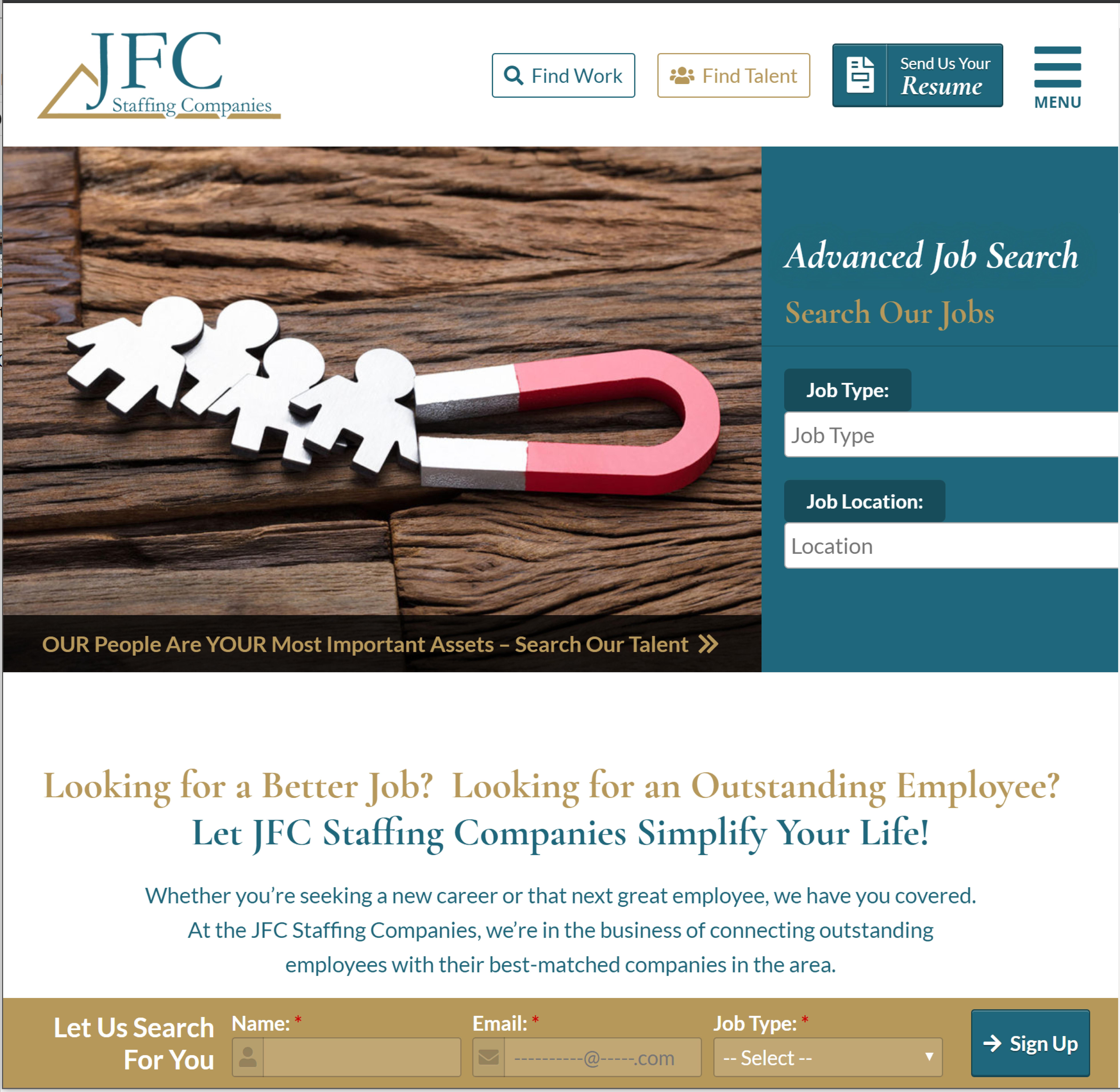 JFC Staffing tablet website design by Valor Creative Media