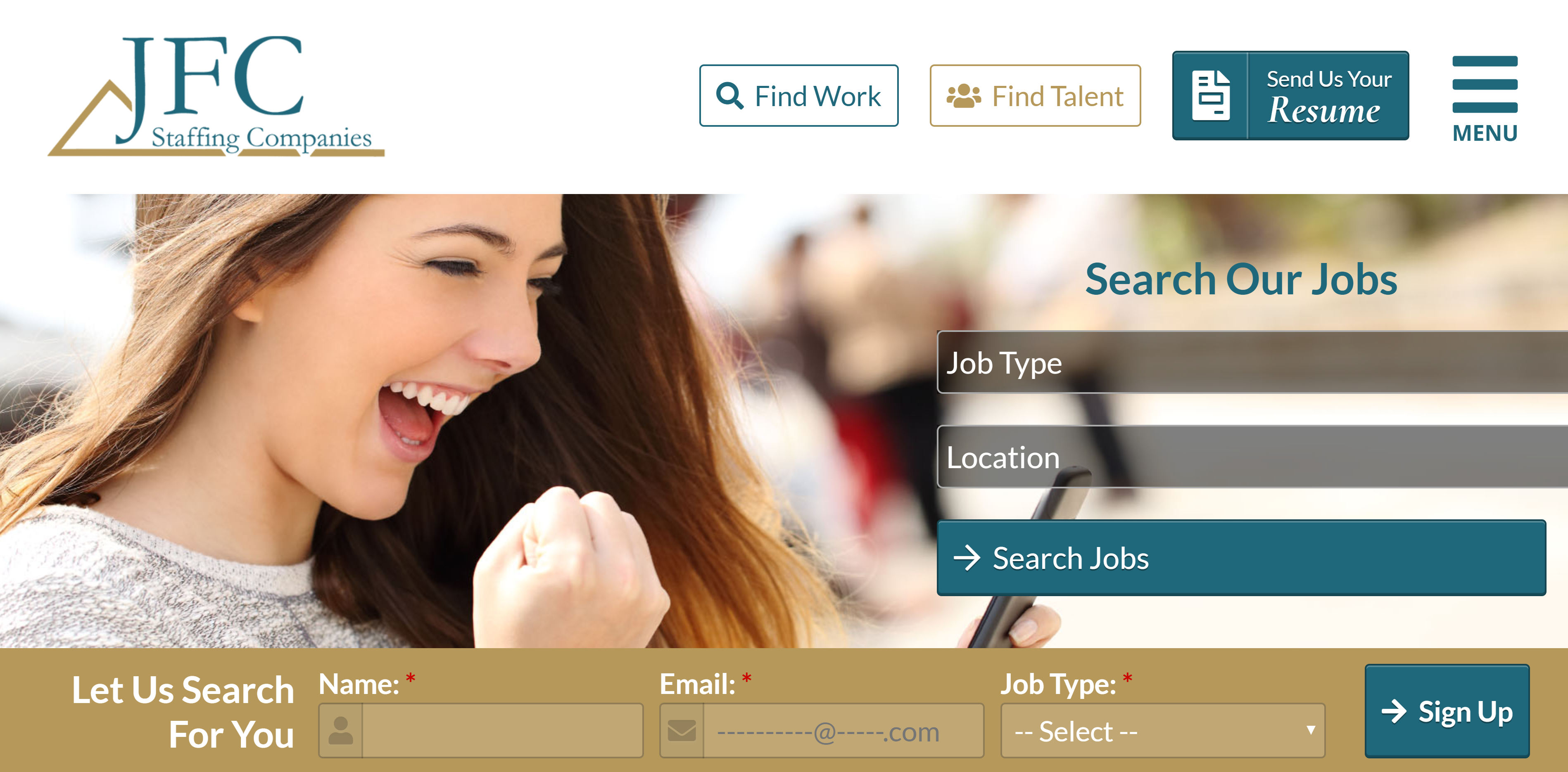 JFC Staffing Search Page Website Design by Valor Creative