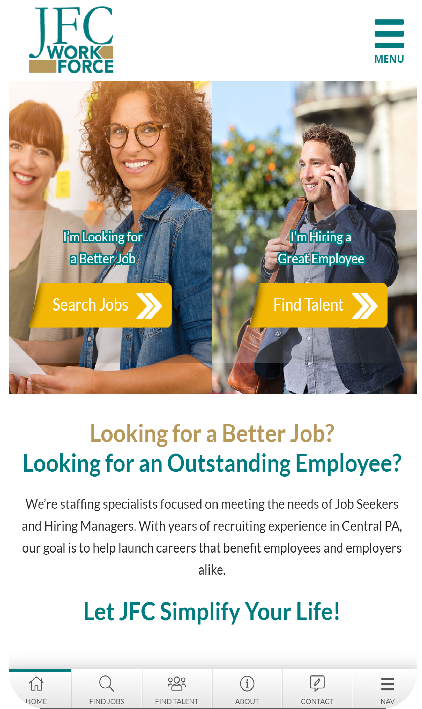 JFC Workforce Mobile Website design by Valor Creative Media
