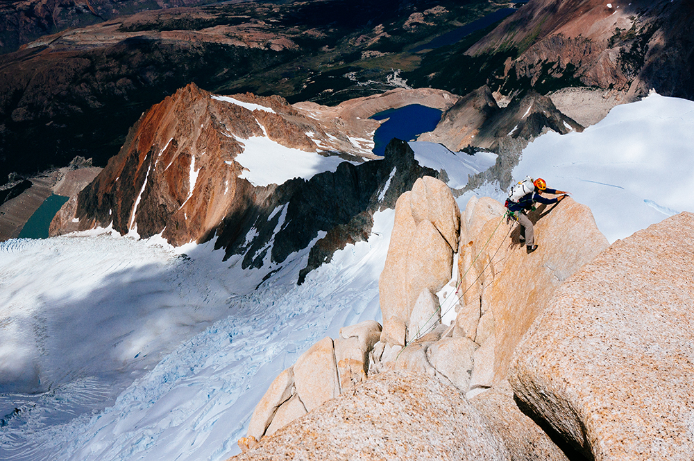 One hand in front of the other for Cheyne Lempe on the Care Bear Traverse. Patagonia.