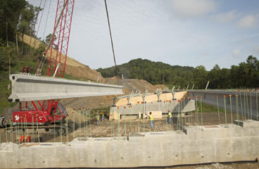 90 Tons of Concrete Beams Placed for New Bridge on Mountain Parkway