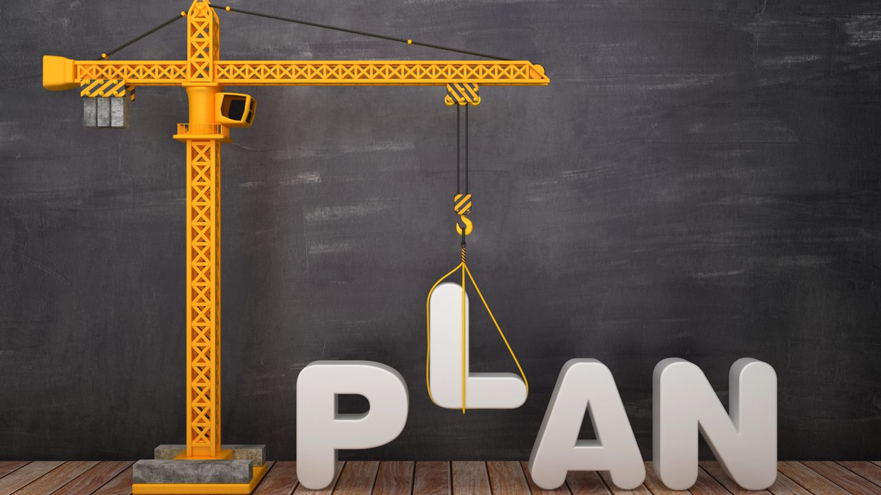 Tower Crane with PLAN Word on Chalkboard Background - 3D Rendering