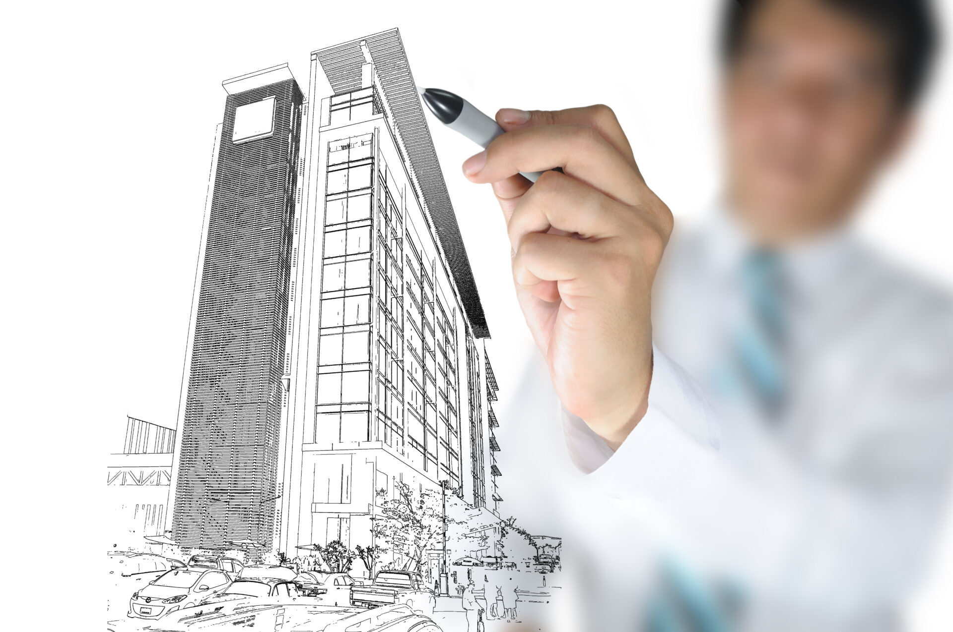 Business,Man,Draw,Building