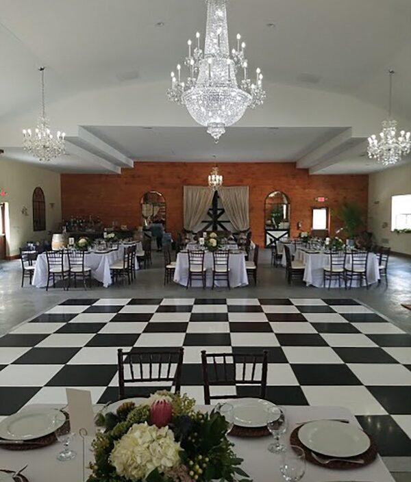 dance floor, black & white, barn doors, rustic, elegant