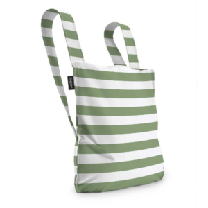 Notabag Original Reusable Shopping Tote Backpack Olive Stripes