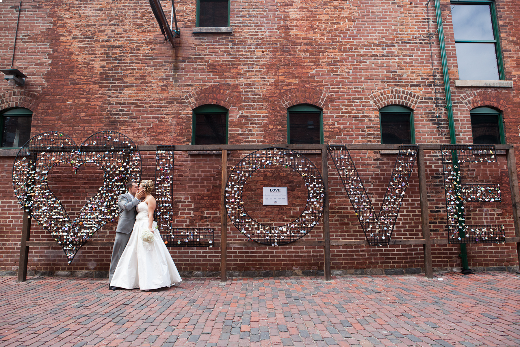 Bride and Groom at Toronto's Distillery District
