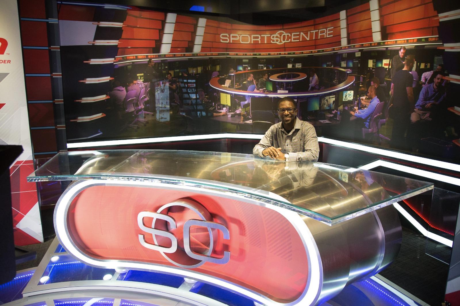 Sheldon Isaac at the Sports Centre TV set